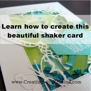 Learn how to create this shaker card with watercolor background title